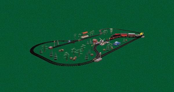 Игрушка включает в себя 99 частей: локомотив, 1 пассажирский и 3 грузовых вагона, железнодорожную станцию...