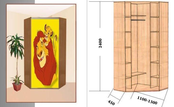 Угловые шкафы для детской с рисунком