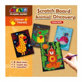 Набор для гравировки Avenir Clever Hands Scratch Board Animal Discover